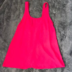 Hot pink, chiffon tank top with bow back